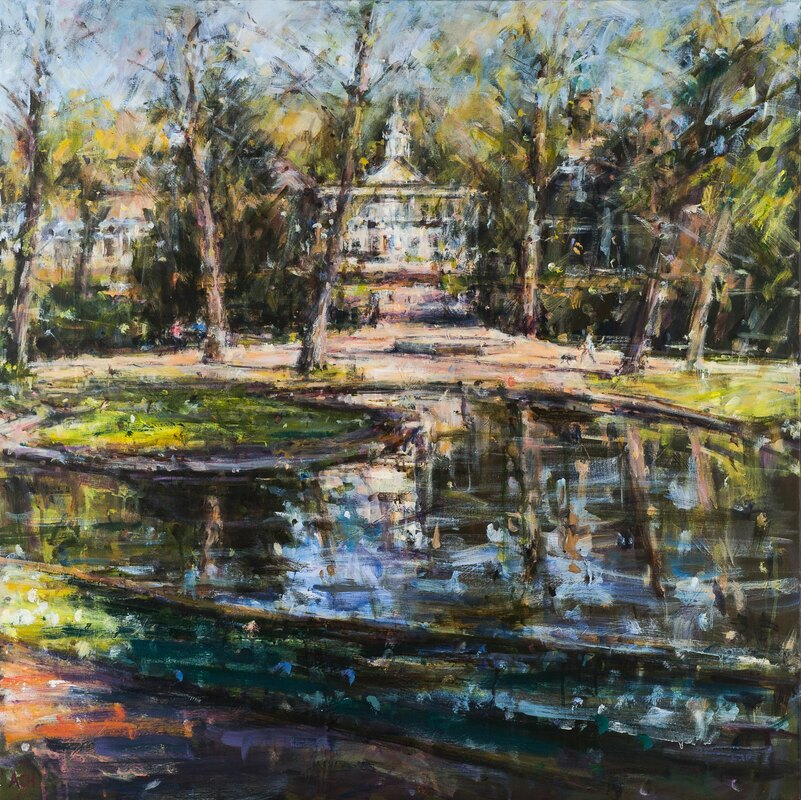 Morning sunlight and shadows, Pavilion Gardens Acrylic on canvas - Andrew Horrod ​First Prize - The Buxton Spa Prize 2018